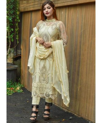 dark-cream net unstitched embroidered top and bottom with dupatta