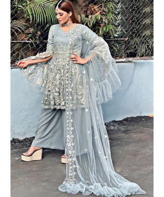 grey net unstitched embroidered top and bottom with dupatta