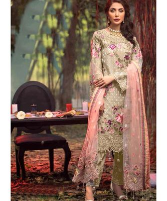 sea-green net unstitched embroidered top and bottom with dupatta