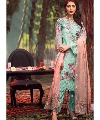 sky-blue net unstitched embroidered top and bottom with dupatta