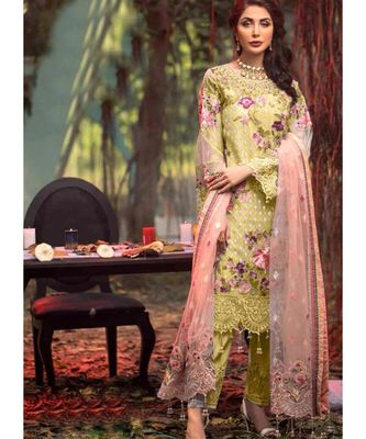 lime net unstitched embroidered top and bottom with dupatta