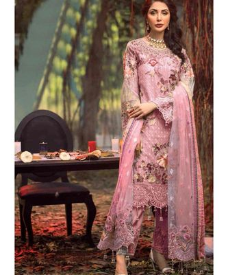 baby-pink net unstitched embroidered top and bottom with dupatta