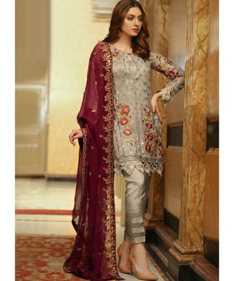 beige georgette unstitched embroidered top and bottom with dupatta