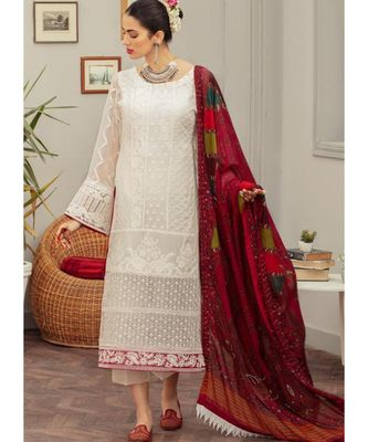 white georgette unstitched embroidered top and bottom with dupatta