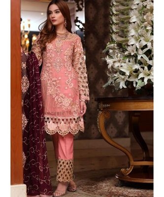 baby-pink georgette unstitched embroidered top and bottom with dupatta