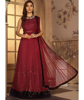 red georgette unstitched sequins top and bottom with dupatta