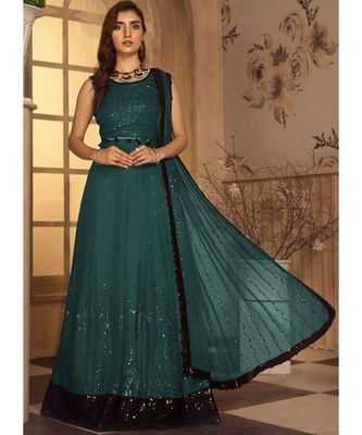dark-teal georgette unstitched sequins top and bottom with dupatta