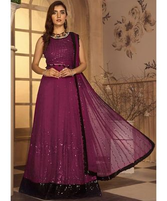wine georgette unstitched sequins top and bottom with dupatta