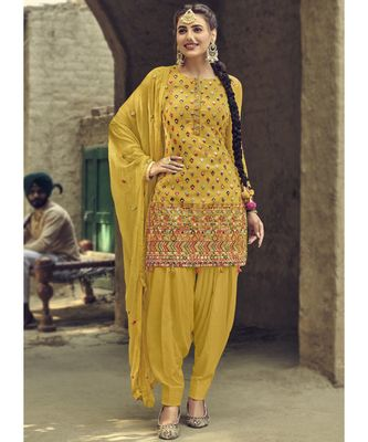 yellow georgette unstitched sequins top and bottom with dupatta