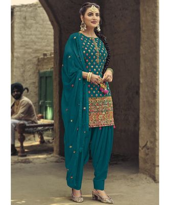 teal georgette unstitched sequins top and bottom with dupatta