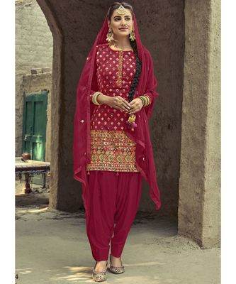 blood-red georgette unstitched sequins top and bottom with dupatta