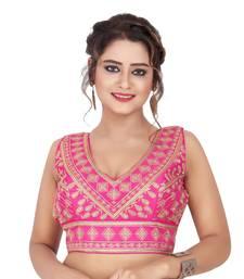 Rani Raw Silk Embroidered Readymade Saree Blouse