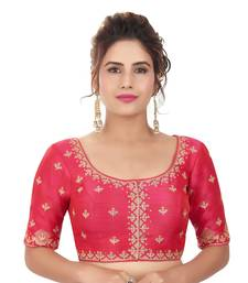 Rani Mulberry Silk Embroidered Readymade Saree Blouse