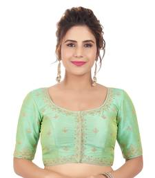 Pista Green Mulberry Silk Embroidered Readymade Saree Blouse