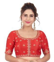 Red Mulberry Silk Embroidered Readymade Saree Blouse