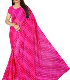 pink Leheriya chiffon saree with blouse