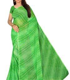 Green Leheriya chiffon designer saree with blouse