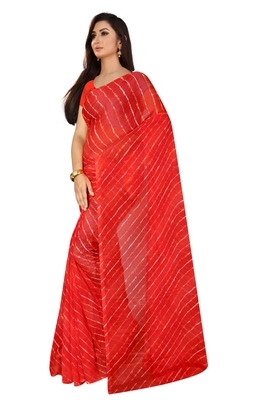 Red Leheriya chiffon designer saree with blouse