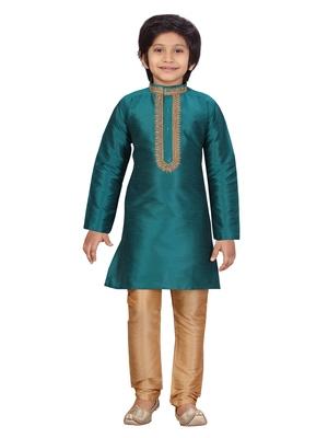 Green plain silk boys-kurta-pyjama