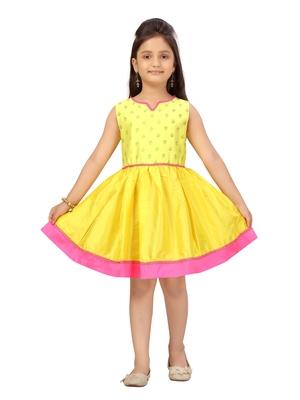 Yellow plain silk kids-frocks