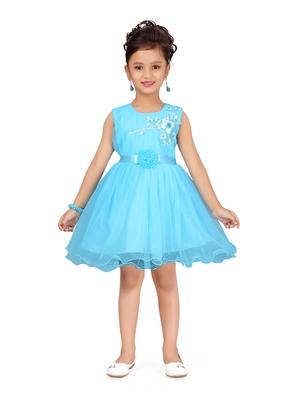 Turquoise plain net kids-frocks