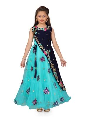 Green plain polyester kids-girl-gowns