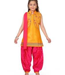 Yellow plain silk salwar suit