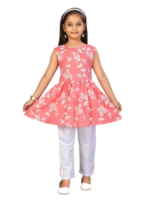 Red embroidered cotton girls kurtis and bottom