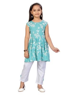 Turquoise embroidered cotton girls kurtis and bottom