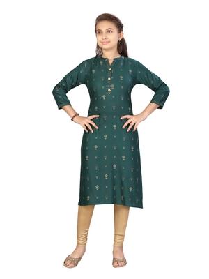Green plain cotton girls kurtis and bottom