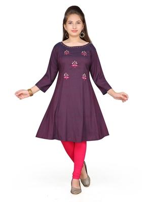 Maroon embroidered cotton girls kurtis and bottom