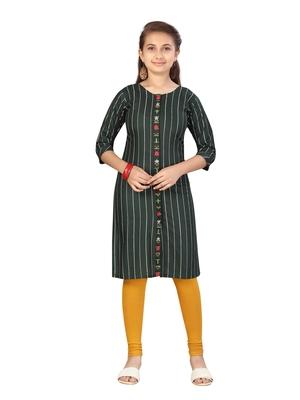 Green embroidered cotton girls kurtis and bottom