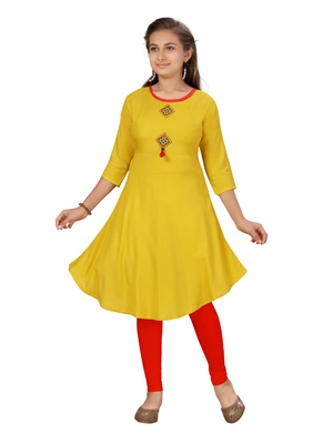 Yellow plain cotton girls kurtis and bottom