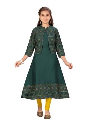 Green printed cotton girls kurtis and bottom