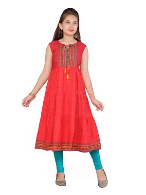 Red printed cotton girls kurtis and bottom