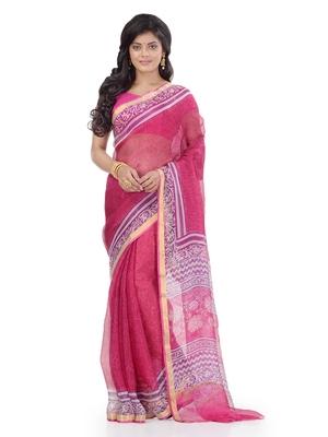 Pink printed silk saree