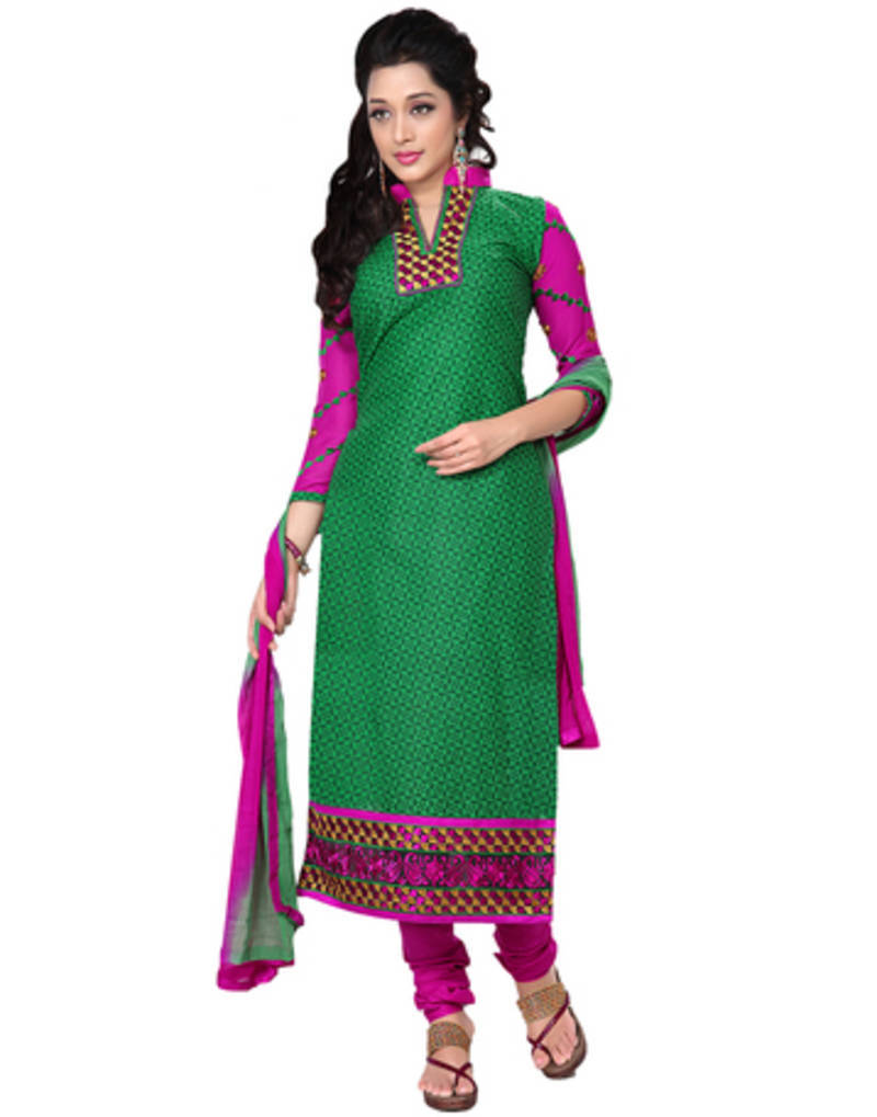 Buy green embroidered cotton dress material online