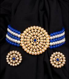 Blue & White Pearl Choker Necklace Set for Women