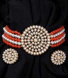 Orange Beaded Plated Pearl Choker Necklace Set for Women
