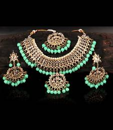 Green Gold plated Polki Studded  Necklace Set