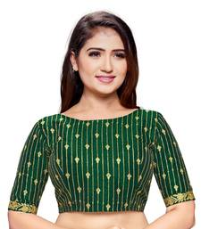 Green cotton silk stiched embroidered blouse