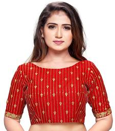 Red cotton silk stiched embroidered blouse