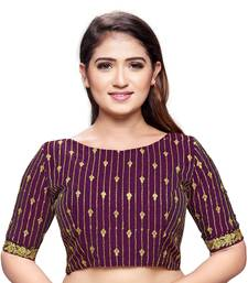 Purple cotton silk stiched embroidered blouse