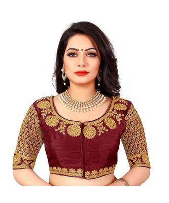 maroon art silk Zari Work blouse
