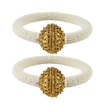 Brass and Acrylic bangles color-White