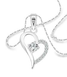 Vighnaharta Sparkle Heart Solitaire CZ Rhodium Plated Alloy Pendant with Chain for Women and Girls - [VFJ1224PR]