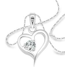 Vighnaharta Crystal Heart Solitaire CZ Rhodium Plated Alloy Pendant with Chain for Women and Girls - [VFJ1233PR]