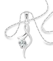 Vighnaharta Youth Solitaire CZ Rhodium Plated Alloy Pendant with Chain for Girls and Women - [VFJ1214PR]
