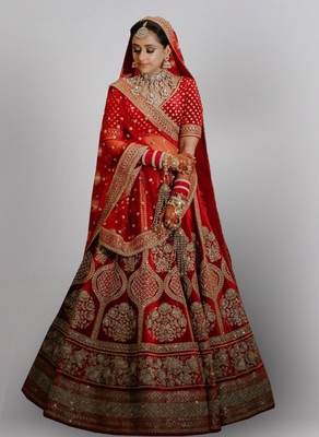 Red Colored Bridal Malay satin Lehenga Choli