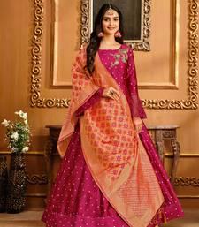 Rani-pink hand embroidery taffeta salwar